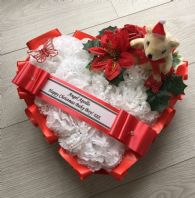 ARTIFICIAL CHRISTMAS WREATH FLOWER HEART MEMORIAL GRAVE BABY RED TEDDY SANTA HAT